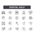 digital help line icons for web and mobile design vector image vector image