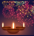 diwali diya with fireworks background vector image vector image
