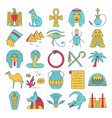 egypt icons set in colored line style vector image vector image