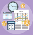 Flat time is money concept background Abstract vector image