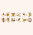 honey and bees stickers set beekeeper man vector image vector image
