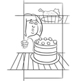 Hungry woman on diet drawing vector image