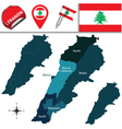 Lebanon map with named divisions vector image vector image