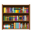 library book shelf bookcase with different books vector image vector image