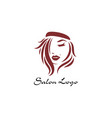 long hair style icon logo women face on white vector image