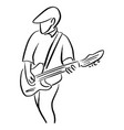 man with an electric guitar sketch vector image vector image