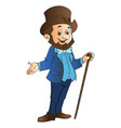 man with top hat and cane vector image vector image