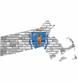 massachusetts map on a brick wall vector image