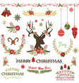 Merry ChristmasChristmas Flowers set vector image vector image