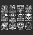 motorcycle races biker club skull emblems sport vector image vector image