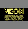neon font in yellow color vector image