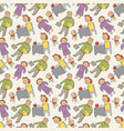 pattern seamless kids with profession doodle vector image