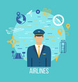 pilot profession flat icons with captain vector image