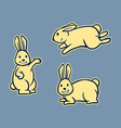 Rabbit Line Art Set vector image vector image