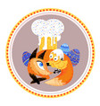 red fox and chicken easter isolated vector image