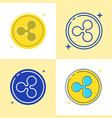 ripple coin symbol icon set in flat and line style vector image