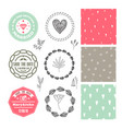 romantic set wedding badges logos vector image vector image