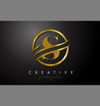 s golden letter logo design with circle swoosh vector image vector image