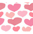 seamless pattern of pink and red hearts vector image