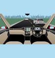 self driving car without driver on a road vector image vector image