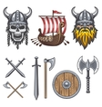 Set of colored viking elements vector image vector image