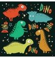 Set of funny cartoon dinosaurs vector image vector image