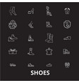 shoes editable line icons set on black vector image