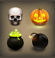 stock realistic skull jack-o vector image