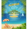 summer sale poster with seaside view background vector image