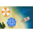 sun sea sand beach with boat and umbrellas vector image