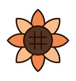 sunflower flower nature decoration line fill icon vector image vector image