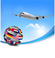 Travel background with an airplane and a globe vector image vector image