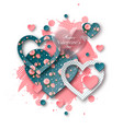 valentines day background with cut paper heart vector image