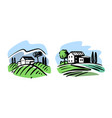 vineyards with house emblem for liquor store vector image vector image