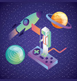 virtual reality astronaut on control game rocket vector image