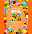 vitamins and minerals poster with fruits vector image