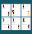 wall calendar planner 2020 with twelve young women vector image