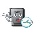 with clock button enter on a keyboard character vector image vector image
