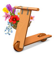 wooden kick scooter with flowers vector image