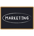 word marketing chalk written on a blackboard vector image vector image