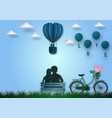 paper art style of balloons shape of heart flying vector image
