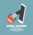 Shopping Basket Flying Out Mobile Phone vector image