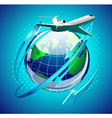 airplain in front of the globe vector image
