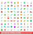 100 house things icons set cartoon style vector image vector image