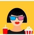 3D glasses big popcorn and soda Brunet girl vector image