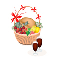 a brown basket thanksgiving turkey with wine vector image vector image