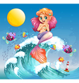A happy mermaid above the sea waves vector image vector image