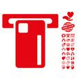 atm machine icon with valentine bonus vector image vector image