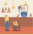bakery shop interior with girl seller character in vector image vector image