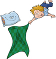 boy with a blanket and a pillow vector image vector image